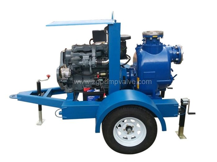 Trailer mounted diesel self-priming pump